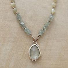 """Sundance Jewelry:  Limelight Necklace  A faceted aquamarine basks in the limelight on a strand of chrysoberyl and moss aquamarine sparked with sterling silver. A green amethyst briolette dangles at the lobster clasp. A handcrafted exclusive. Approx. 16"""" to 18""""L."""