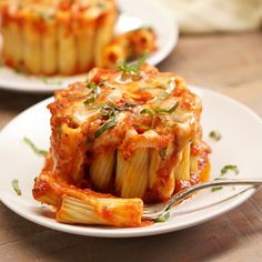 You can make these eye-catching mini rigatoni pasta pies in a coffee mug! Rigatoni pasta stuffed with melted mozzarella cheese, marinara sauce, and fresh basil.