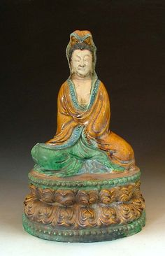Liao Dynasty Tri-colored Pottery Kuanyin Buddha Statue