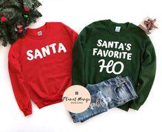 Grinch Christmas Sweater, Couples Christmas Sweaters, Funny Christmas Shirts, Santas Favorite Ho, Rock Shirts, Tee Shirts, Winter Shirts, Crew Sweatshirts, Hoodies
