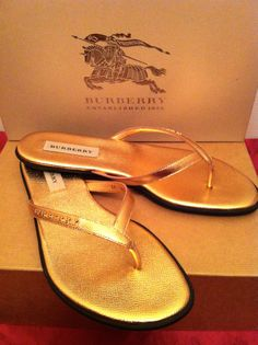 eaff0e32c8b Burberry womens london bloomhall flat rose gold thong sandal size 39 (9 us)  6 uk