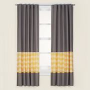 Love these curtains for the window - modern, simple and won't compete with the chevron rug