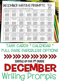 This set of 28 December themed writing prompts. These Christmas and holiday themed writing prompts come in a task card, calendar and full page version. Each card has a kid friendly writing prompt and a real life photo to match. Graphic organizers and writing paper are included. These are the perfect addition to your writing center.