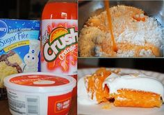 Orange Sherbet Cake - 1 box yellow cake mix, 12 oz diet orange soda, 16 oz container lite Cool Whip. Whisk cake mix & soda 30 seconds. Pour into prepared cake pans & bake as directed. (Can do muffins as well) Frost w/ Cool Whip once cool