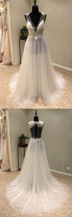 Cheap V-Neck Open Back Tulle Ivory Beach Wedding Dress WD197,Weddings,Wedding dresses,tulle dresses,dreamwedding
