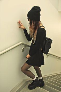 gritttedteeeth:  Black Black Black Dress ↦streetfem
