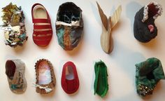 Booties made by students at Booker T. Washington School for the Arts