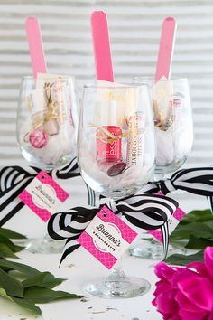 Home Decor On A Budget Pink black and white wine glass favors for a baby shower or bridal shower.Home Decor On A Budget Pink black and white wine glass favors for a baby shower or bridal shower Cadeau Baby Shower, Baby Shower Prizes, Bridal Shower Favors, Bridal Showers, Wedding Favors, Wedding Gifts, Bridal Shower Punch, Spa Party Favors, Wedding Souvenir