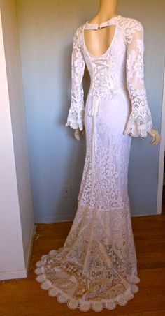 Corset Back Victorian Antique Crochet LACE Wedding by MuseClothing, $285.00