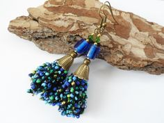 Ethnic Etno Crochet earrings tassel Boho chic Bohemian Gypsy earrings small beads earrings gift for her, blue and green Made in Poland by LolaFUN on Etsy