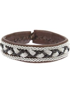 ULLA SOUCASSE plaited leather and chain bracelet - on Vein - getvein.com