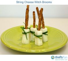If you are looking for a more nutritious Halloween treat, give these string cheese witch brooms a try!