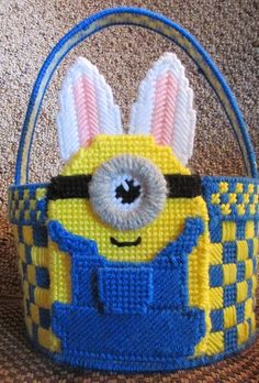 Minion Minions Inspired Basket Plastic by StitchingUpCreations