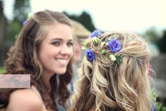 Bridesmaid hair with cornflowers