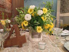 #rustic #yellow #wedding #centerpiece