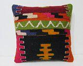 turkish pillow 18x18 oversized floor pillow kilim pillow chair cushion cover DECOLIC kilim throw pillow kilim pillow set burlap pillow 25748