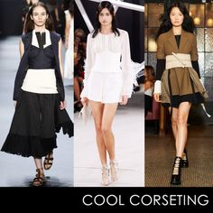 - Corsets and bustiers are given modern purpose by layering themoverseparates in order to create a newshape and add interest.