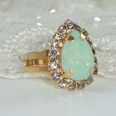 Mint Opal Crystal Ring, 24k Gold Ring Crystal, Mint Opal & Gray Adjustable Cocktail  Ring Sawrovski Rhinestone, Bridel Jewelry. on Etsy, $45.00