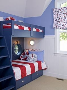 Spaces Nautical + Bedroom Design, Pictures, Remodel, Decor and Ideas - page 3 Kids Bedroom Designs, Bunk Bed Designs, Nautical Bedroom, Bedroom Decor, Bedroom Ideas, Nautical Theme, Bedroom Furniture, Nautical Interior, Nautical Design