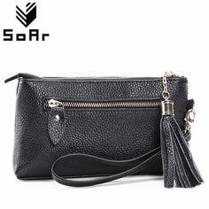 8ec8b66e5a1b SoAr Women Bags Small Clutch bag Genuine Leather Tassel Cow Handbag Ladies  Wristlets Wallet Female Purse Luxury Brands Fashion   Price   10.50   FREE  ...