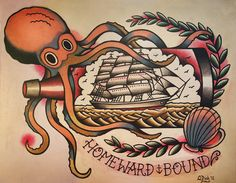 Octopus and Ship in a Bottle Old School Tattoo Flash Sheet. $14.99, via Etsy.
