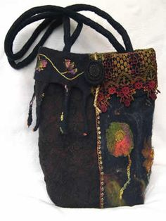 Felted bag - don't like felted things (too hot in Texas!) but I love the juxtaposition of colors.
