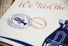 Vintage Travel Wedding Invitation (Pocket Folder Lighthouse)