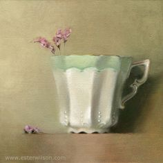 Still life oil painting of a white china teacup with a gold rim and pink flowers by Ester Wilson - http://www.esterwilson.com