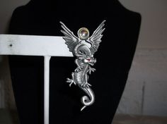 VTG. 1986 JJ JONETTE ARTIFACTS AB & RED CABOCHON & PEWTER FLYING DRAGON PIN~1-3~ #JJJonette #FlyingDragon