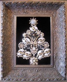 Vintage Rhinestone Costume Jewelry repurposed Framed Christmas Tree Collage Art