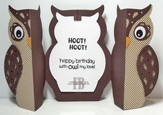 Hi everyone, As most of you know I love anything to do with owls, so when I saw this die advertised from Sizzix at CHA I knew I had. Mini Scrapbook Albums, Scrapbook Cards, Owl Labels, Harry Potter Cards, Owl Punch, Punch Art, Owl Card, Handmade Birthday Cards, Handmade Cards