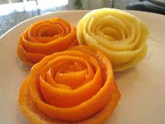 Rose made from citrus peel - For more fruit carving ideas, visit http://www.vegetablefruitcarving.com/