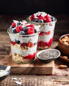 Start your day right with healthy breakfast bowls!🥣Featuring baobab powder, chia seeds & coconut flakes from Baobab Powder, Spiced Nuts, Keto Friendly Desserts, Chia Pudding, Breakfast Bowls, Yummy Food, Delicious Recipes, Coconut Flakes, Superfoods