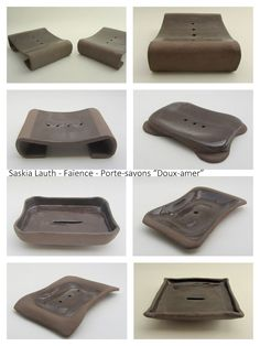"Soap dishes, ""Bitter sweet"" series 2015 (brown clay, transparent glaze), Atelier Saskia Lauth / France - www.saskia-lauth.com"