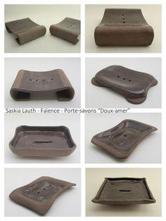 "Soap dishes, ""Bitter sweet"" series 2015 (brown clay, transparent glaze), Atelier Saskia Lauth / France - www.saskia-lauth.com"