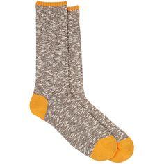 Barneys New York Men's Mélange Cotton-Blend Trouser Socks ($45) ❤ liked on Polyvore featuring men's fashion, men's clothing, men's socks, brown, mens brown socks, mens socks and mens trouser socks