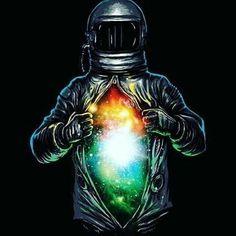 Kazda osoba posiada dusze, ale nie wszyscy mają ja tak kolorową jak ten kosmonauta...