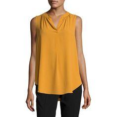 Tahari Arthur S. Levine Women's Crepe Split-Neck Top ($56) ❤ liked on Polyvore featuring tops, goldenrod, split neck top, sleeveless tops, no sleeve tops, v neck sleeveless top and crepe top