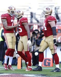 From Left to Right. Colin Kaepernick, Michael Crabtree, Joe Staley.