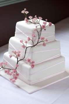 wedding cake with cranes and cherry blossoms | Cherry Blossom Wedding Cake — Square Wedding Cakes