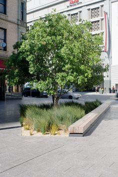Jardines Urbanos- Detalle de Banca y vegetación. -CMG landscape architecture-Mint Plaza/ like the bench