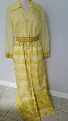 Vtg 70's Boho Mod Shimmery Crisp Yellow Print Well-Made Maxi Dress Sz 14 - Large #unbranded #Maxi #SpecialOcassionformaleveryday