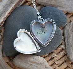 you are loved . a (whispered) soul mantra silver heart locket