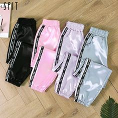 SFIT Big Pocket Satin Highlight Harem Pants Women Glossy Sport Ribbon Trousers BF Harajuku Joggers Women's Sports Pants - Outdoor You Should Know Cute Lazy Outfits, Cute Casual Outfits, Sporty Outfits, Gym Outfits, Fitness Outfits, Teen Fashion Outfits, Teenage Outfits, Fashion Pants, Queer Fashion