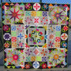 While the Cat's Away; pattern by Wendy Williams, pieced by Jenn Rodriguez, quilted by Page Johnson Medallion Quilt, Sampler Quilts, Patch Design, Trippy, Quilt Patterns, Patches, It Is Finished, Embroidery, Cats
