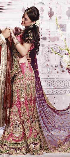 Pink and Majenta color family Wedding Lehnga in Net fabric with Dabka, Resham, Zircon work Indian Bridal Wear, Indian Wear, Saris, Indian Dresses, Indian Outfits, Lehenga, Desi Bride, Desi Wedding, Asian Bride