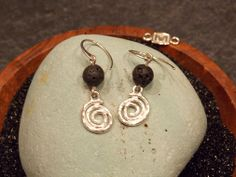 Sterling Silver Islands Spiral earrings with Lava beads #islandscollection  #manningjewelry #earrings