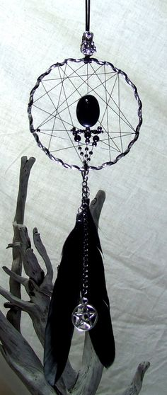 Wicca Dragon Wall Hanging Dreamcatcher Goth Bedroom Hematite Black Onyx Beads Black Feathers Magick Witchcraft Dragon Magic Gift Pentagram by TigerEmporium on Etsy