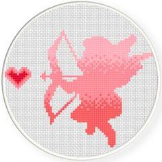 Ombre Cupid Cross Stitch Pattern