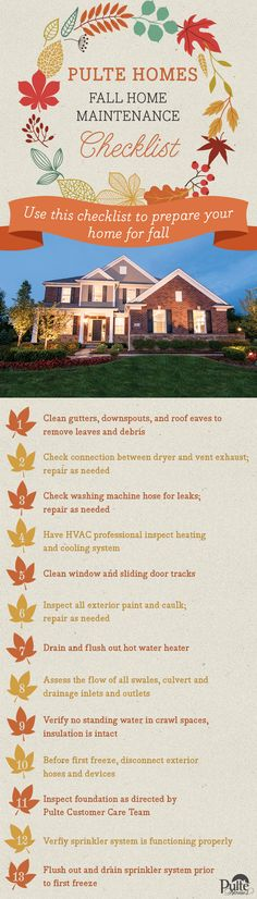 Fall has arrived. Make sure your home is prepared for cooler weather with Pulte Homes' Fall Home Maintenance Checklist. | Pulte Homes